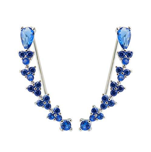 CISHOP Arrow zirconi blu Diamond Triangle scalatore polsini Ear Wrap Line-Orecchini a lobo (2,49 cm *(0,98 0,41 (0,16 cm)