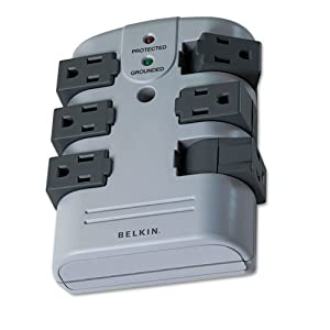 Belkin - Pivot Plug Surge Protector, 6 Outlets, 1080 Joules, Gray BP106000 (DMi EA by Belkin Components