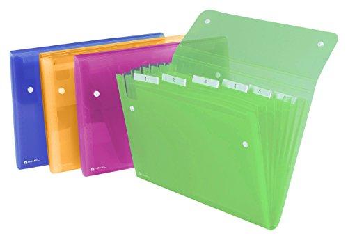 Rexel Ice Archiviatore a Soffietto A4, Chiusura con Bottone, 6 Tasche, Colori Assortiti