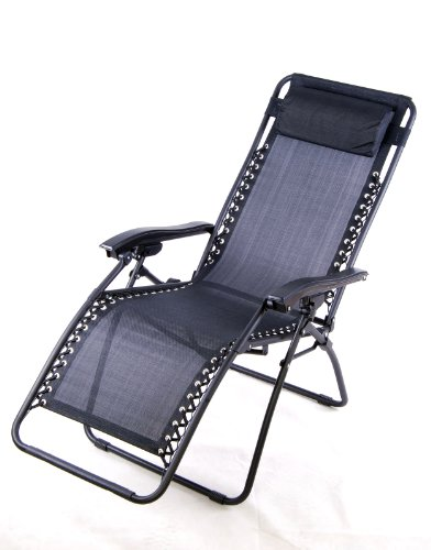 Outsunny Zero Gravity Recliner Lounge Patio Pool Chair - Black