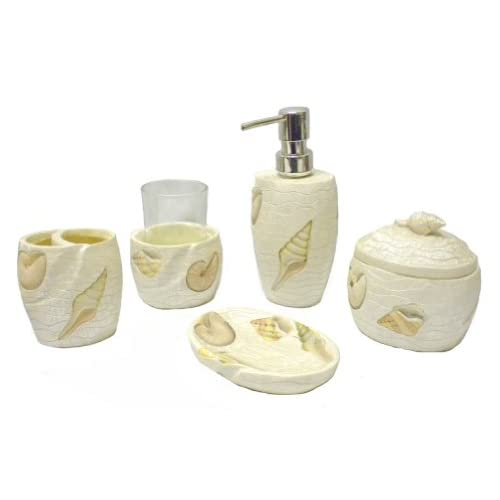 Shimmering seashell 5 piece beach themed for Beach themed bathroom sets
