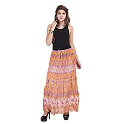 Rangkrit Beautiful Cotton Printed A-Line Orange Long Skirt