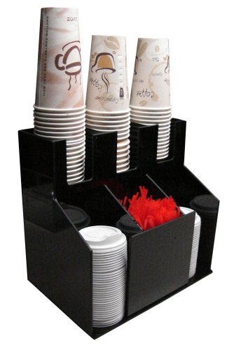 Cup and Lid Holder Dispenser Countertop Organizer 3wx2d Coffee Condiment Stirrer, Sugar Cup Caddy Organize and Display Your Coffee Counter with Style (1011) (Coffee Stirrers Dispenser compare prices)