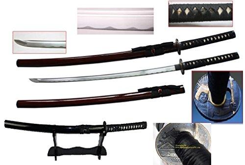 New Handmade Battle Ready Razor Sharp Japanese Samurai War Lord Toyotomi Hideyshi Wakizashi Katana Sword with Stand