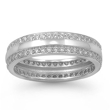 Rhodium Plated Silver Dual Row Cz Eternity Band (6 - 9) - Size 6