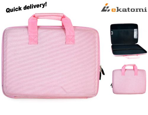 13 inch Laptop Bag Semi-hard Nylon Take Case for Sony VAIO VPC-Z214GX - Pink. Bonus Ekatomi screen cleaner