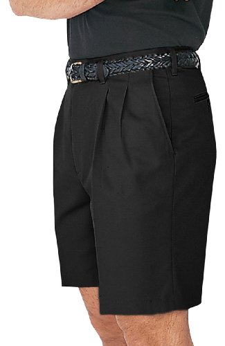 Ed Garments Men's Casual Pleated Front Chino Short, BLACK, 35 Closeout Casual Shorts
