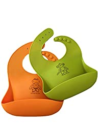 Waterproof Silicone Bib with Food Catcher Pocket for Baby & Toddlers. Rolls Up for Travel. Comfortable Soft baby bibs. Wipes Clean & Dries Quickly! Set of 2- For Boys & Girls!(Orange/Green)
