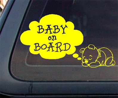Bear Baby on Board Car Decal / Sticker - Yellow
