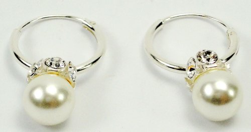 Earring sterling silver.925 pearl color classic style white crytal in Thailand
