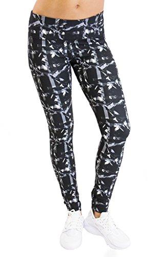 90 Degree by Reflex - Performance Activewear - Printed Yoga Leggings - Print 255 Abstract Plaid Grey Black L