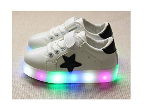Children Shoes LED Light Kids Shoes with light Baby Boys Girls Lighting Sneakers Casual Children Sneakers (6, White) (Baby Shoes For Fat Feet compare prices)