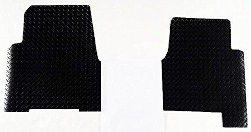 WeatherFit Floor Mats FRTCASCEVOL1132B - 2 Pc Front Black Diamond Plate Rubber Aftermarket Floor Mats for Freightliner Cascadia Evolution 113 (Freightliner Evolution compare prices)