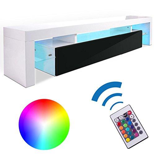 Homelux-TV-Board-Lowboard-Medienwand-TV-Schrank-mit-RGB-LED-und-Push-to-open-Funktion-in-Schwarz-Weiss