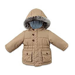 Little Youngster Baby-Boys & Kids, Long Sleeve Winter Parka Jacket with Fur Hoodie (12M, Camel)