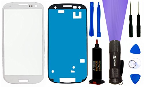 Xfactor Samsung Galaxy S3 Screen Replacement Kit Inlcuding 1 Replacement Glass For Samsung Galaxy S3 (Glass Only - Digitizer Not Included) / Tool Kit / Xfactor Uv Loca (Liquid Optical Clear Adhesive) + Uv Black Light - Complete Combo!! (White)