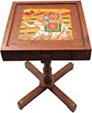 JaipurCrafts Royal Rajasthan Rectangle With Storage Outdoor & Cafeteria Stool (Multicolor)