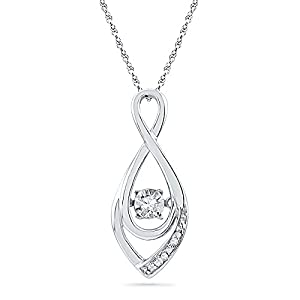 Twinkle Diamond Necklace with Adjustable Chain to 22 inches 1/20 CTW