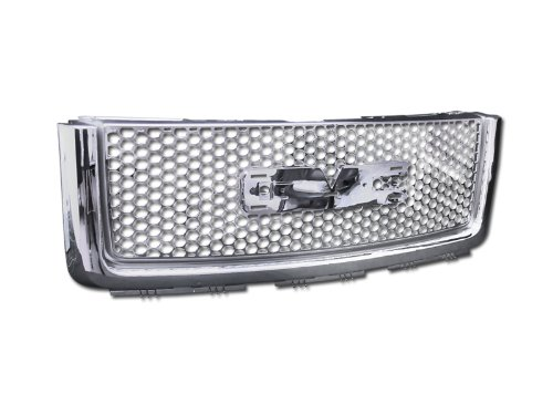 2007-2013 GMC Sierra Denali Chrome Round Mesh Front Hood Bumper Grill Grille Abs w/Logo Base (Gmc Grill 2010 compare prices)