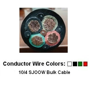 10/4 Bulk Cable 50 Foot - SJOOW Jacket, 30 Amps, 4 Wire, 300v - Water and Oil Resistant