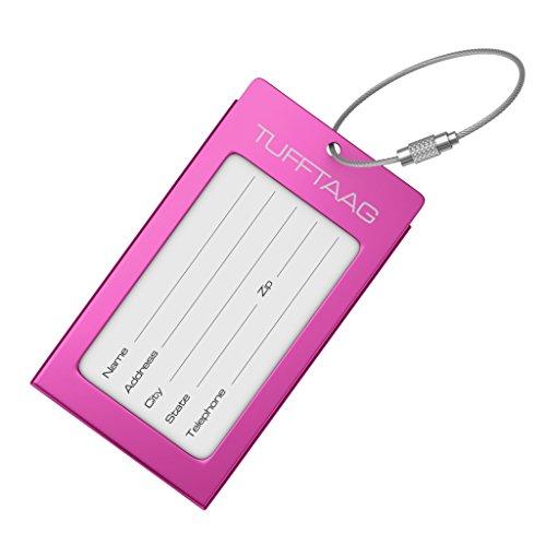 Luggage tags business card holder tufftaag pink travel id for Tufftaag luggage tags