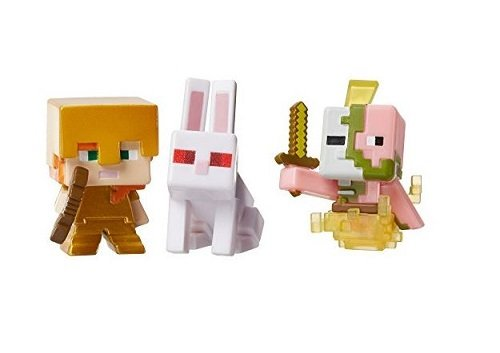 Minecraft-Mini-Figure-3-Pack-Alex-with-Gold-Armor-Killer-Rabbit-Spawning-Zombie-Pigman
