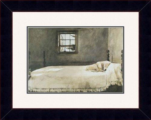 black framed master bedroom bed andrew wyeth lab dog double matted 0