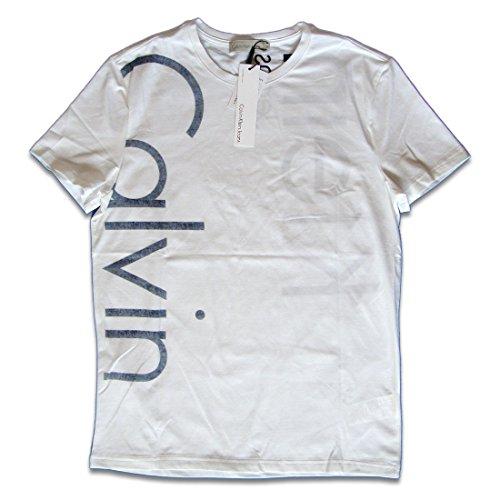 カルバンクライン Calvin Klein Tシャツ 半袖 クルーネック ロゴプリント メンズ ホワイト コットン Mサイズ 並行輸入品 VITA905