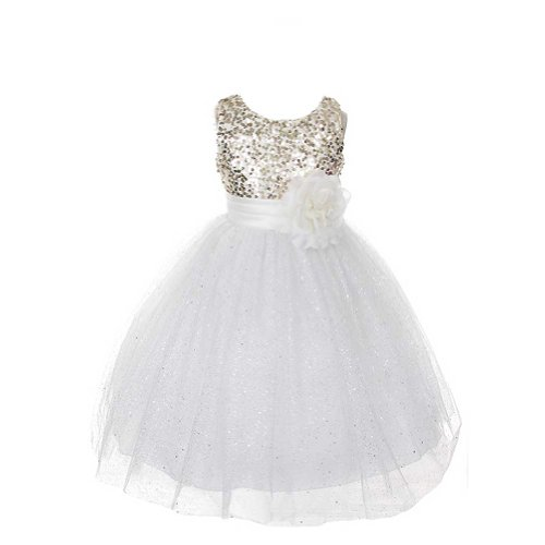 Rain Kids Girls 8 Ivory Gold Sequin Sleeveless Tulle Pageant Dress front-490463