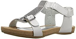Nine West Taryn T-Strap Buckle Sandal (Toddler/Little Kid/Big Kid), White/Silver, 8 M US Toddler