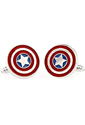 TAILUN Men's Wedding Cufflinks Super Hero Cufflinks (Captain America)