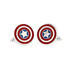 TAILUN Men's Wedding Cufflinks Super Hero Cufflinks (Captain America)