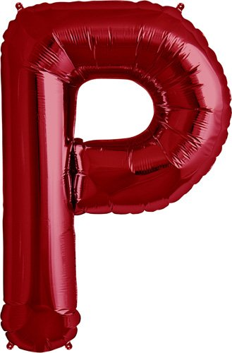 Letter P - Red Helium Foil Balloon - 34 inch - 1