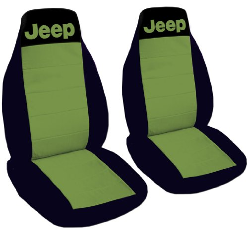 1996 Jeep Wrangler YJ seat covers. One front set of seat covers. Black and hunter green Jeep seat covers.