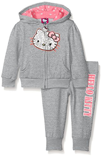 Hello Kitty Baby Girls' 2pc Hoodie and Pant Set, Gray/Pink, 18 Months