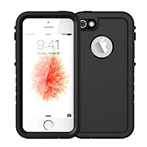 """iPhone SE Waterproof Case, Vcloo 6.6ft(2M)iPhone 5S Underwater Case, Dust Proof, Snow Proof, Shockproof Duty Touch Screen Full Body Protective Carrying Case Cover for iPhone 5/SE/5S,4.0"""" (Black)"""