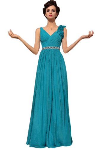 CharliesBridal V-Neck Floor Length Formal Evening Dress - L - Aqua
