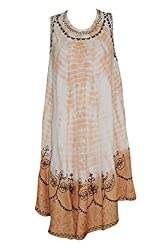 Indiatrendzs Women's Dress Embroidered Sleeveless Flowy Orange Boho Dresses