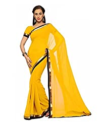 SRP Fashion Selection Women's Georgette Saree (SRP-OF51, Yellow)