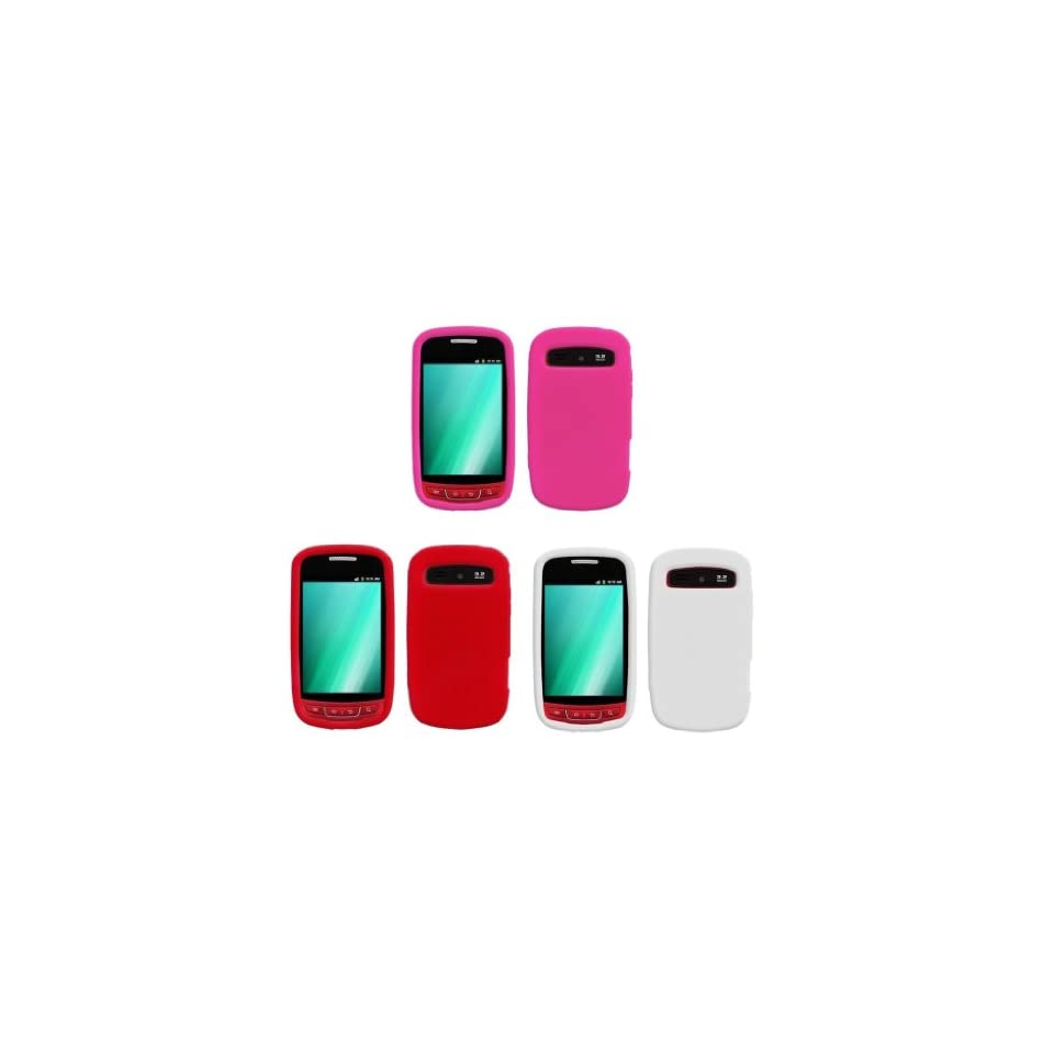 Samsung Admire (Metro PCS) Premium 3 Pack Bundle Combo   (White, Red, Hot Pink) Silicone Soft Skin Case Covers + Atom LED Keychain Light