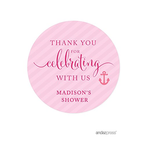 Andaz Press Pink Girl Nautical Baby Shower Collection, Personalized Round Circle Label Stickers, Madison's Shower, Your Text Here, 40-Pack, Custom Made (Baby Shower Personalized Stickers compare prices)