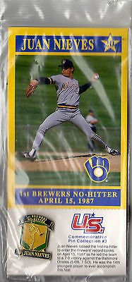 Juan Nieves Rare Commemorative Milwaukee Brewers Pin + Card #3 *1St No Hitter*