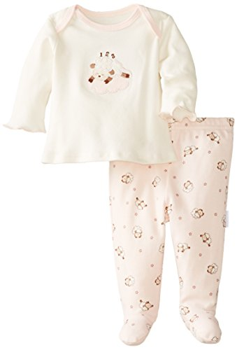 Vitamins Baby Baby-Girls Newborn Lamb 2 Piece Footed Pajama Set, Ivory, 6 Months front-1079616