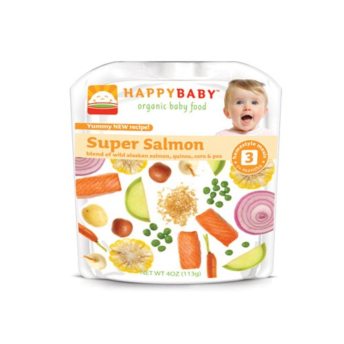 Happy Baby Organic Baby Food Stage 3 Super Salmon - 4 oz - Case of 16