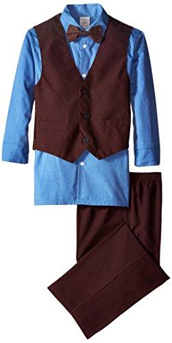 Perry Ellis Big Boys' Poplin 3 Piece Vest Set, Galaxy Blue, 12