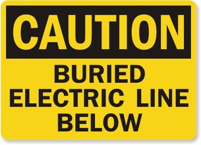 "Smartsign Aluminum Osha Safety Sign, Legend ""Caution: Buried Electric Line Below"", 7"" High X 10"" Wide, Black On Yellow"