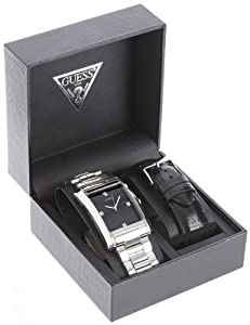 GUESS Men's U11036G1 Stainless Steel/Black Leather Boxed Watch Set