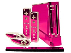 Nintendo Wii Skin New Pink Chrome Mirror System Skins Faceplate Decal Mod