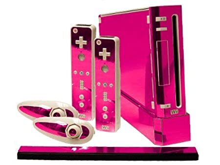 Nintendo Wii Skin - NEW - PINK CHROME MIRROR system skins faceplate decal mod