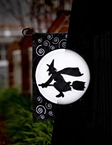 """Fiber Optic Flying Witch Silhouette Decorative Garden Flag 18"""" x 12.5"""""""